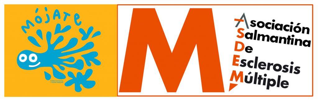Logotipos de ASDEM junto a la imagen de Mójate 2020, que representa una gota de agua con una sonrisa.